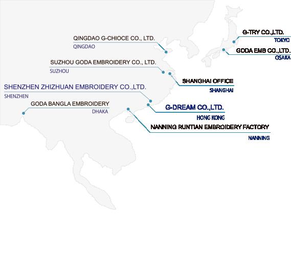 株式会社ジー・トライの国内と海外拠点の地図